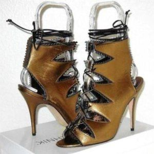 Manolo Blahnik Gold Ankle Boots 37.5